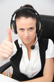 Operador fêmea do apoio a o cliente com auriculares Fotos de Stock