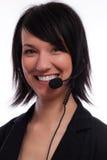 Operador hermoso del servicio de atención al cliente de las mujeres Fotos de archivo