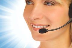 Operador hermoso del teléfono directo Fotografía de archivo