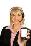 Operador hermoso del teléfono directo Imágenes de archivo libres de regalías