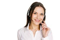 Operador hermoso joven del centro de atención telefónica Fotografía de archivo libre de regalías