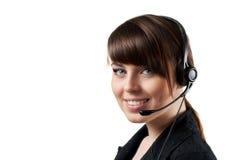 Operador sonriente del centro de atención telefónica aislado Imagen de archivo