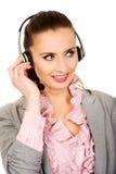 Operador sonriente feliz del teléfono de la ayuda Foto de archivo libre de regalías