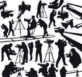 Operadores cinematográficos e câmaras de vídeo Fotografia de Stock Royalty Free