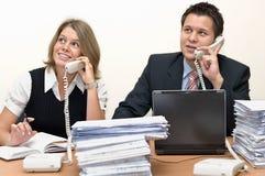 Operadores do atendimento: homem e mulher Fotografia de Stock