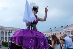 Operafest-Tulchyn 2018, Tulchin, Ukraine. Tulchin, Ukraine. 9 June, 2018. A woman in a fancy dress. Palace of Count Potocki during the Operafest-Tulchyn 2018 stock photos