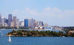 Operahuis en Sydney City royalty-vrije stock foto
