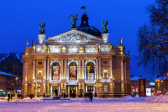 Operahuis in Lviv in de nacht Royalty-vrije Stock Fotografie