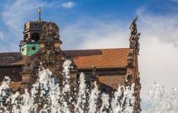 Operahus kupol-Nuremberg, Tyskland Arkivfoto