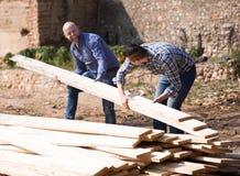 Operai che sistemano il legname della costruzione all'azienda agricola Immagini Stock Libere da Diritti
