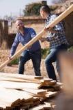 Operai che sistemano il legname della costruzione all'azienda agricola Immagini Stock