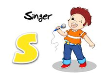 Operai di alfabeto - cantante Immagine Stock
