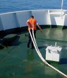 Operaio alla nave Fotografia Stock