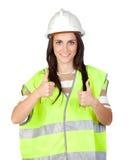 Operaio attraente con la maglia del riflettore Immagine Stock