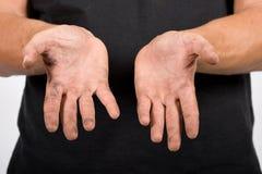 Operaio con le mani sporche immagini stock libere da diritti
