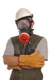 Operaio con una maschera antigas Fotografia Stock Libera da Diritti