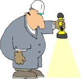 Operaio con una torcia elettrica illustrazione di stock