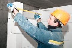 Operaio del muratore della costruzione Fotografie Stock Libere da Diritti