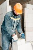 Operaio del muratore della costruzione Fotografie Stock