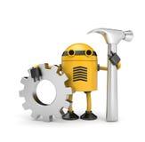 Operaio del robot con l'attrezzo Immagine Stock