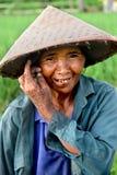 Operaio della risaia di riso Fotografia Stock Libera da Diritti