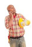 Operaio di costruzione al telefono Fotografie Stock Libere da Diritti