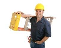 Operaio di costruzione con la scaletta Fotografia Stock