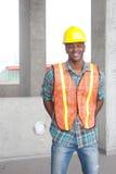 Operaio di costruzione dell'afroamericano Fotografia Stock Libera da Diritti
