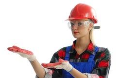 Operaio di costruzione femminile Fotografie Stock Libere da Diritti