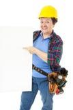 Operaio di costruzione femminile - segno Fotografia Stock Libera da Diritti