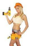 Operaio di costruzione femminile sexy Fotografia Stock Libera da Diritti