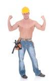 Operaio di costruzione macho Fotografie Stock
