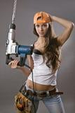 Operaio di costruzione sexy della giovane donna Immagini Stock Libere da Diritti