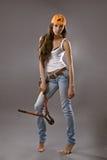 Operaio di costruzione sexy della giovane donna Fotografia Stock Libera da Diritti