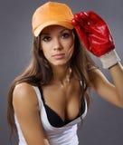 Operaio di costruzione sexy della giovane donna Immagine Stock Libera da Diritti
