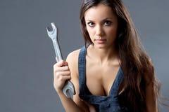Operaio di costruzione sexy della giovane donna Immagine Stock