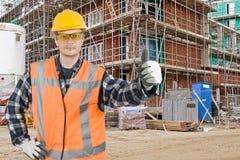 Operaio di costruzione soddisfatto Immagini Stock