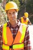 Operaio di costruzione sul job Fotografie Stock