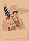 Operaio e una bandiera americana Immagine Stock