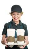 Operaio maggiore - server del caffè Fotografia Stock
