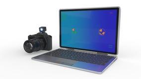 Operando a câmera selecione como uma edição do computador, rendição 3d Fotografia de Stock Royalty Free
