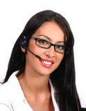 operatör för exponeringsglashörlurar med mikrofonlatin Royaltyfri Foto