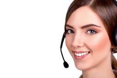 Operatör för telefon för service för appellmitt i den isolerade hörlurar med mikrofon Arkivbild