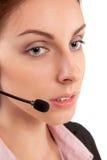 Operatör för telefon för service för appellmitt i den isolerade hörlurar med mikrofon Royaltyfria Bilder