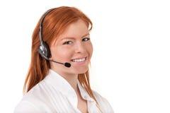 Operatör för telefon för service för appellmitt i den isolerade hörlurar med mikrofon Arkivbilder