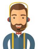Operatörsman i hörlurar med mikrofon royaltyfri illustrationer