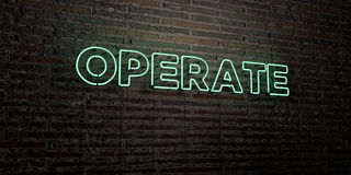 OPERATE -Realistic Neon Sign on Brick Wall background - 3D rendered royalty free stock image. Can be used for online banner ads and direct mailers Stock Image