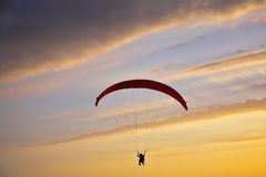 The operated parachute flies on a sunset Stock Photography