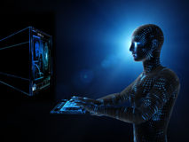 Operating computer Royalty Free Stock Images