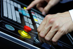 Operating controls of the cnc machining center Stock Photo